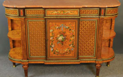 Howard & Sons inlaid satinwood marble top side cabinet