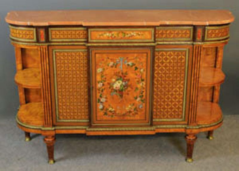 Howard & Sons inlaid satinwood marble top side cabinet