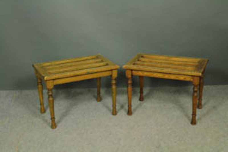 pair oak luggage stands