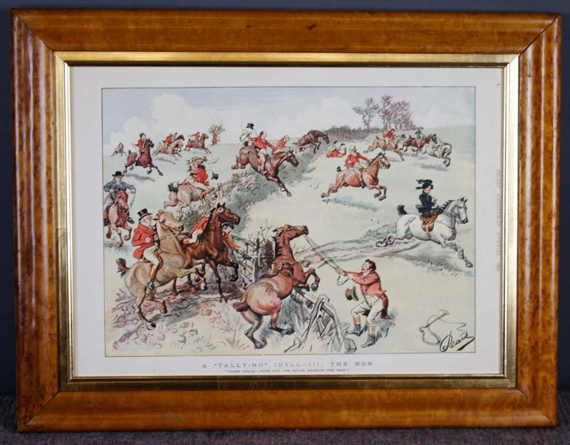 Set 5 Victorian Pears Prints Hunting Theme In Birdseye Maple Frames Paul Watson Antiques