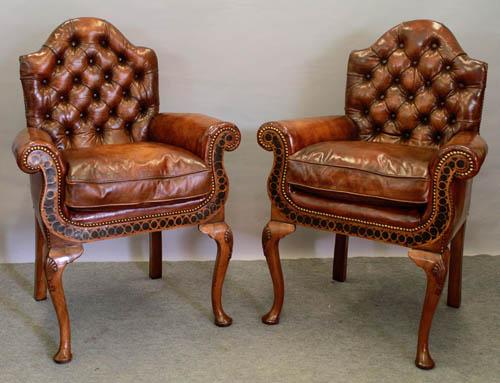 Pair Geo style walnut & oyster veneer chairs