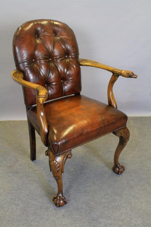 Geo style walnut chair carved eagle head elbows