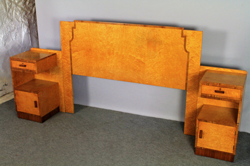 art deco headboard & pair bedside cupboards