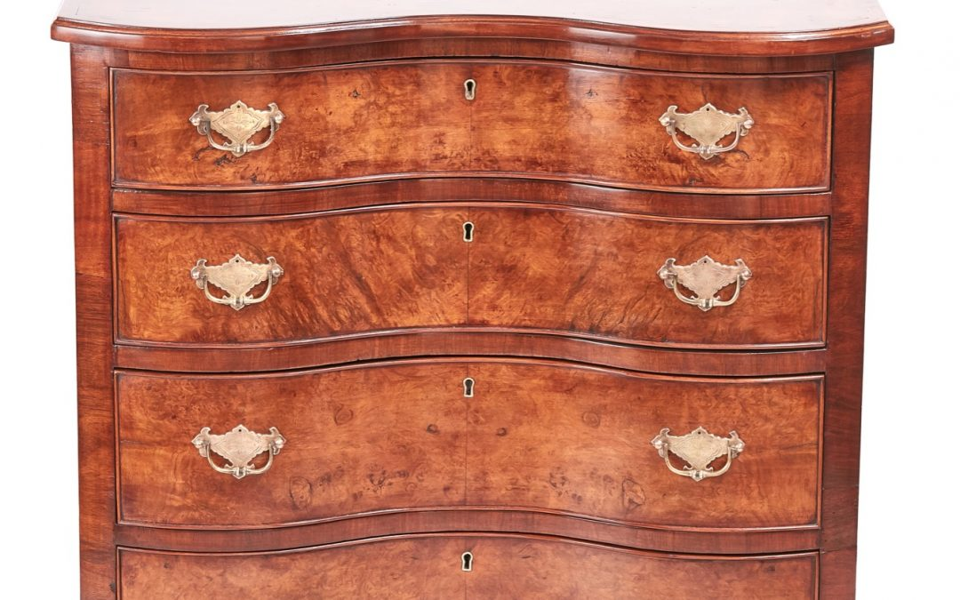 walnut style shaped front chest